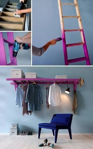 Ladder to use as wardrobe