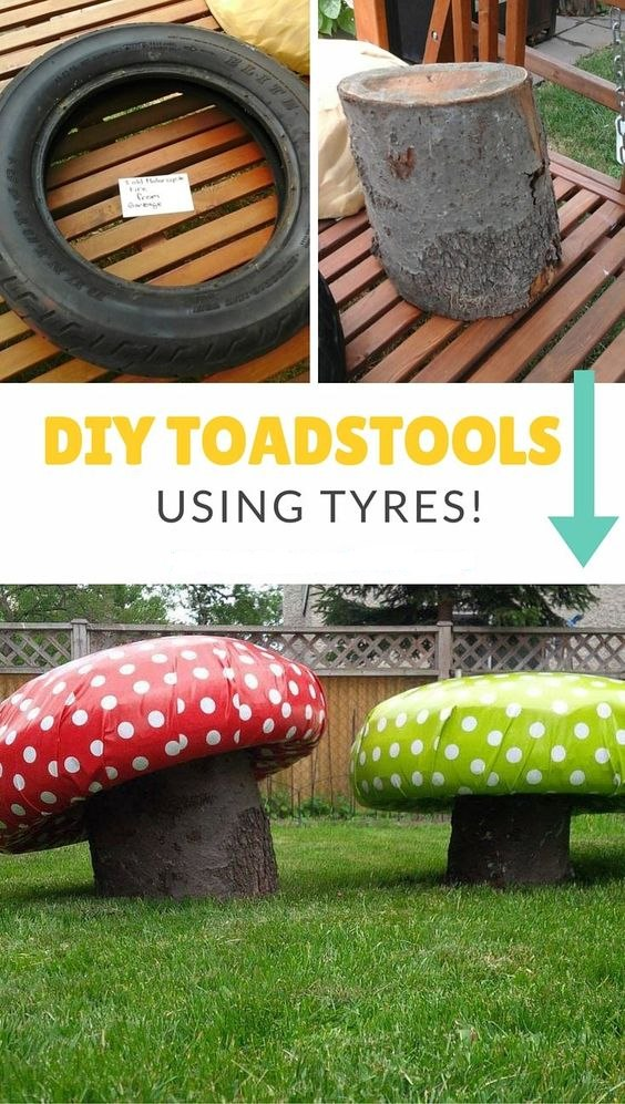 Toadstools using tyres