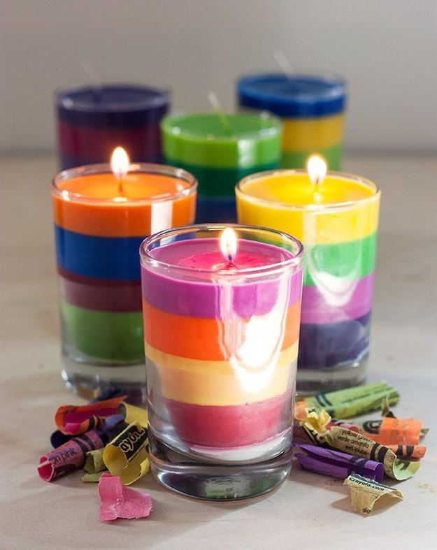 Homemade candles from broken crayons