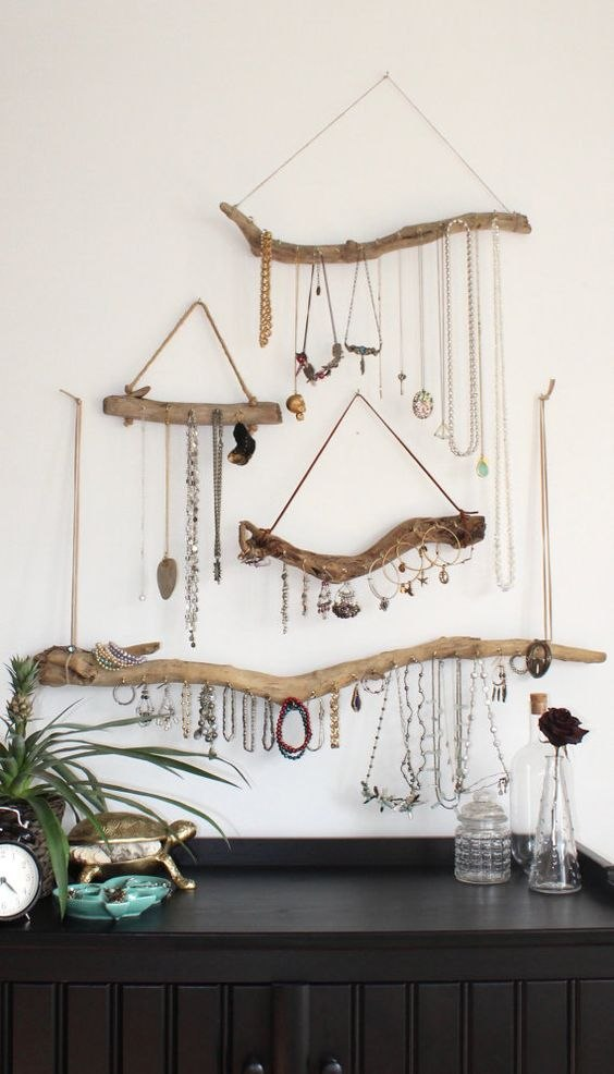 Driftwood Jewelry Display Wall