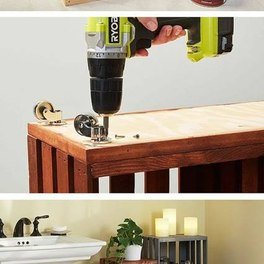 Bathroom Storage Shelves Made From Wooden Crates