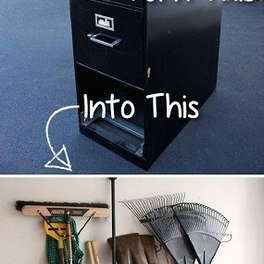 Turn your file cabinet into a rake storage