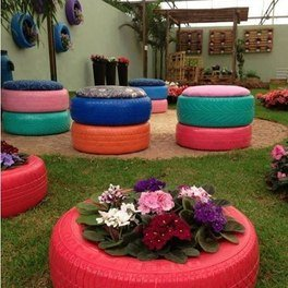 Outdoor patio using tyres