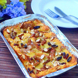 Eggless baked bread pudding